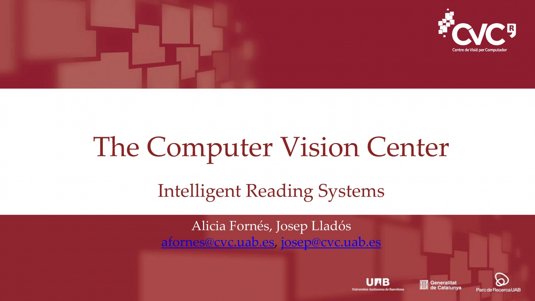 Computer Vision Center (pres. by Alicia Fornés)