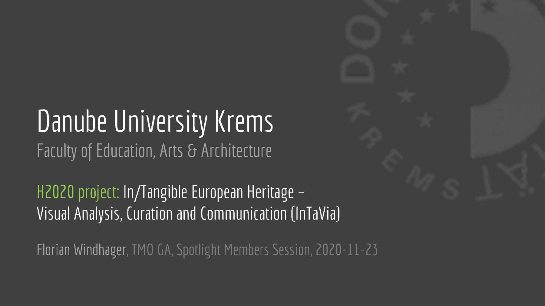 Danube University Krems  (pres. by Florian Windhager)