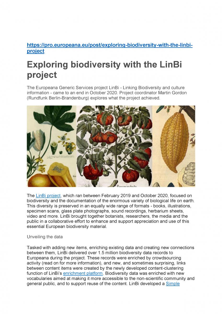 Meise Botanical Gardens - project LinBi (pres. by Patricia Mergen)